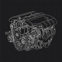 Illustration de dessin de main de moteur de voiture vecteur