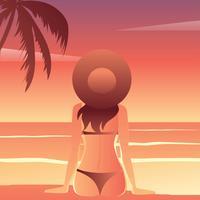 Coucher de soleil plage vecteur