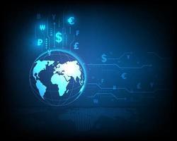 icône de change mondial avec réseau à grande vitesse abstrait sur fond bleu
