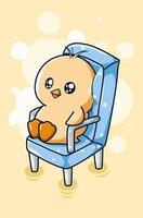canard mignon assis sur une chaise, illustration de dessin animé animal vecteur