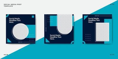 modèle de bannière de publication de médias sociaux de mode bleu vecteur
