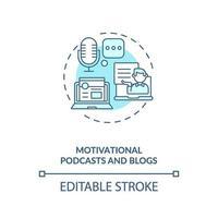 icône de concept de podcasts et de blogs de motivation vecteur