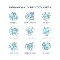 jeu d & # 39; icônes de concept de contenu de motivation vecteur