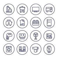 Appareils et icônes de ligne d'électronique grand public sur blanc vecteur