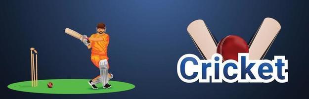 bannière de tournoi de cricket en direct vecteur