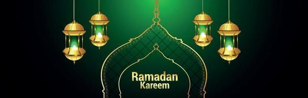 bannière de ramadan kareem ou en-tête avec lanterne dorée vecteur