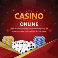 fond de casino de poker avec des jetons de casino et des cartes à jouer vecteur