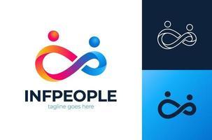 symboles et logo vectoriel infinity people. modèle de logo d'adoption et de soins communautaires à l'infini