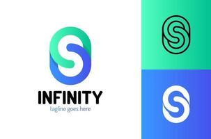 modèle de conception de logo infini lettre s. création de logo vectoriel pour les entreprises. signe de la lettre s
