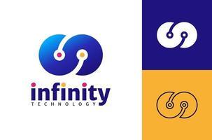 modèle de vecteur de logo technologie infini, concept de design de logo infini créatif.