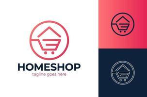 chariot de magasin de magasin de maison de maison créative simple vendre acheter modèle d'icône de vecteur de logo