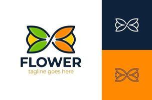 logo floral infini. modèle de logo infini vert. illustration vectorielle de feuille éco icône symbole vecteur