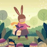 joli personnage de lapin de pâques portant des cadeaux vecteur