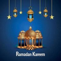ramadan kareem lanterne dorée et fond vecteur