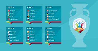football européen 2020 tournoi final stade groupes vector illustration stock. Tournoi européen de football 2020 avec fond. drapeaux de pays de vecteur