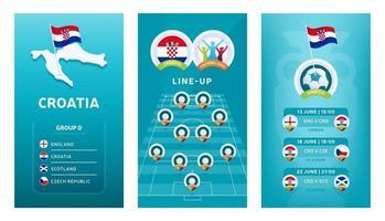 bannière verticale de football européen 2020 pour les médias sociaux. bannière du groupe d croatie avec carte isométrique, drapeau, calendrier des matchs et alignement sur le terrain de football vecteur