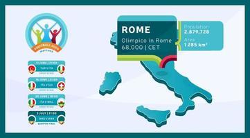 football isométrique du stade de rome 2020 vecteur