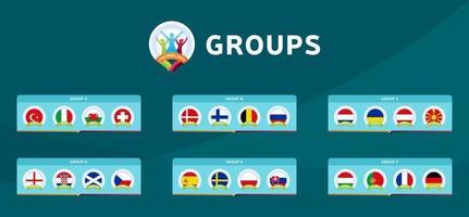 phase de groupes football 2020 vecteur