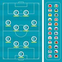 drapeau de l'équipe nationale et terrain de football. vue de dessus vecteur
