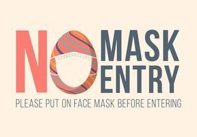 pas de masque pas d'entrée pâques vecteur