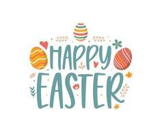 joyeuses Pâques lettrage coloré. Joyeuses Pâques, symboles vectoriels, logo, insignes et conception de lettrage vecteur