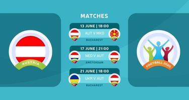 L'équipe nationale d'Autriche programme les matchs de la phase finale du championnat de football 2020. illustration vectorielle avec le gravier officiel des matchs de football 2020. vecteur