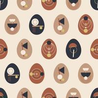 conception de concept de pâques boho. modèle sans couture de vecteur avec des oeufs en pastel et terre cuite, couleurs marron, illustrations vectorielles plat