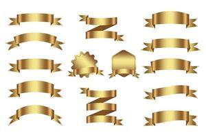 pack de rubans dorés élégants vecteur