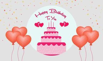 joyeux anniversaire à toi avec gâteau et coeurs