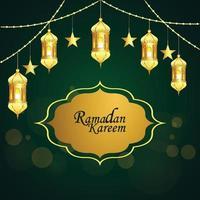 fond vert avec lanterne dorée de ramadan kareem ou eid mubarak vecteur