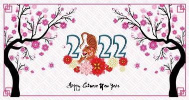 bonne année chinoise 2022 - année du tigre. modèle de conception de bannière de nouvel an lunaire. vecteur