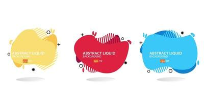 ensemble de bannière abstraite moderne. forme liquide géométrique plate avec différentes couleurs. modèle de bannière moderne. eps 10 vecteur
