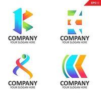 collection modèle de conception de logo lettre k initiale colorée vecteur