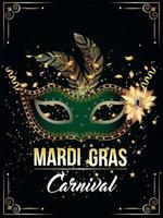masque doré et vert pour la fête de carnaval vecteur