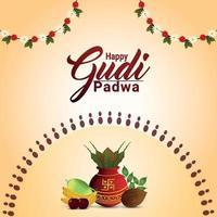 joyeux gudi padwa célébration carte de voeux avec kalash traditionnel vecteur