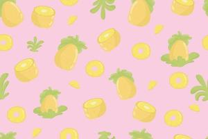 modèle sans couture frais de fruits ananas. ananas et feuilles sur motif transparent jaune. conception moderne de fruits exotiques tropicaux pour papier d'emballage, textile, bannière, web, application. fruits d'ananas jaune juteux et feuilles vertes douces