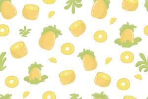 modèle sans couture frais de fruits ananas. ananas et feuilles sur motif transparent jaune. conception moderne de fruits exotiques tropicaux pour papier d'emballage, textile, bannière, web, application. fruits d'ananas jaune juteux vif et feuilles vert tendre