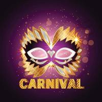 masque de carnaval doré avec plume beau concept design et arrière-plan vecteur