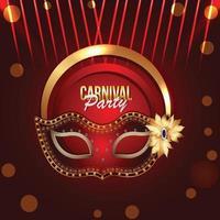 carnaval jayanti célébration fond avec masque doré vecteur