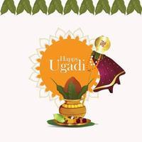 kalash créatif d & # 39; ugadi heureux avec du bambou traditionnel vecteur