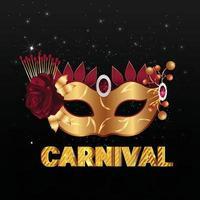 bannière de fête de carnaval avec masque doré brillant vecteur
