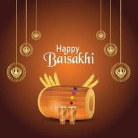 carte de voeux réaliste avec tambour de fond de vaisakhi heureux vecteur