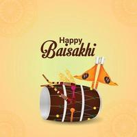 design créatif avec illustration créative avec dhol de vaisakhi heureux vecteur