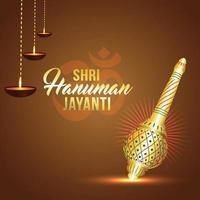 Shri hanuman jayanti fond avec l'arme du seigneur hanuman vecteur