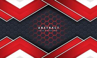 Fond hexagonal de lumière rouge abstraite 3D avec des formes de cadre rouge et blanc. vecteur
