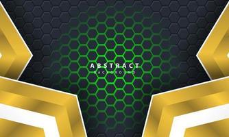 Fond hexagonal de lumière verte abstraite 3D avec des formes de cadre or et blanc. vecteur