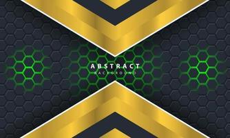 3d abstrait fond hexagonal clair vert avec des formes de cadre or et blanc vecteur