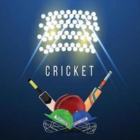 Championnat de cricket leagur avec casque de cricket vecteur