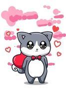 un chaton mignon apporte une illustration de dessin animé de grand coeur vecteur