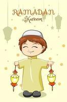 petit garçon musulman célébrant le ramadan kareem avec illustration de dessin animé de lanterne vecteur